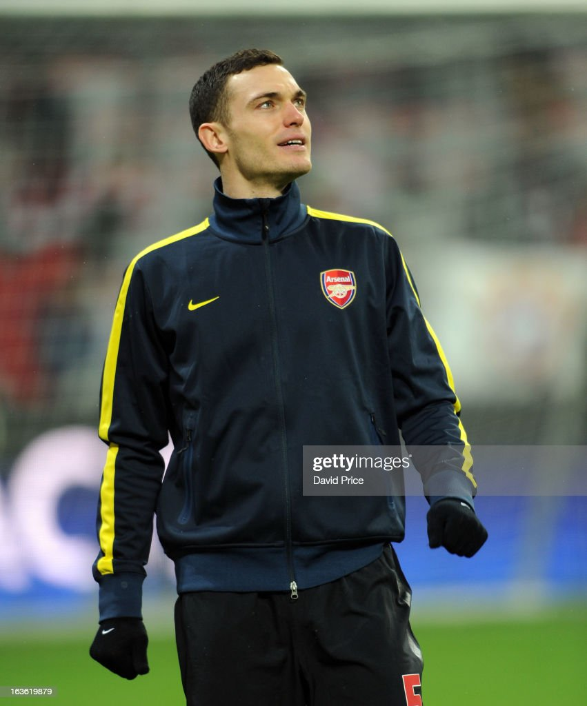 Thomas Vermaelen of Arsenal before the UEFA Champions League Round of 16 second leg match between Bayern Muenchen and Arsenal FC at Allianz Arena on March 13, 2013 in Munich, Germany.