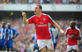 Thomas Vermaelen of Arsenal celebrates his goal during the Barclays Premier League match between Arsenal and Wigan Athletic at the Emirates Stadium...