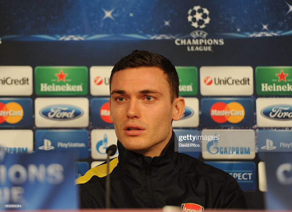 Thomas Vermaelen of Arsenal during a Press Conference ahead of their UEFA Champions League Round of 16 match against Bayern Munich at Allianz Arena on March 12, 2013 in Munich, Germany.