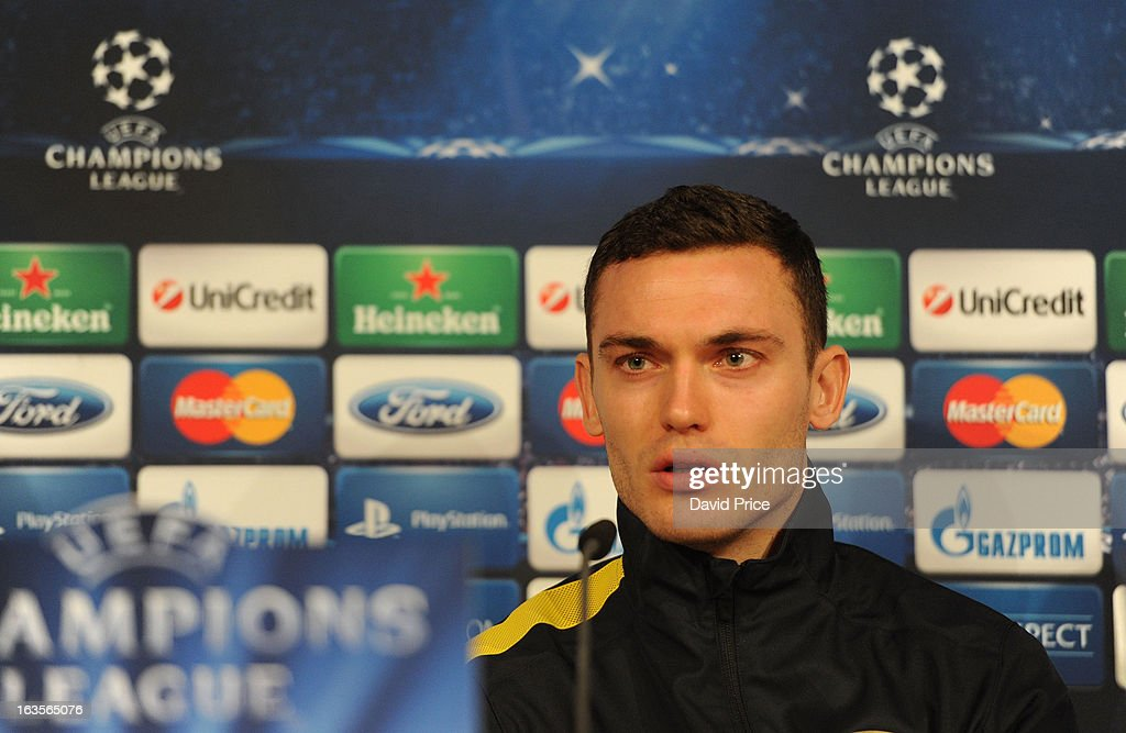 <a gi-track='captionPersonalityLinkClicked' href=/galleries/search?phrase=Thomas+Vermaelen&family=editorial&specificpeople=1360240 ng-click='$event.stopPropagation()'>Thomas Vermaelen</a> of Arsenal during a Press Conference ahead of their UEFA Champions League Round of 16 match against Bayern Munich at Allianz Arena on March 12, 2013 in Munich, Germany.