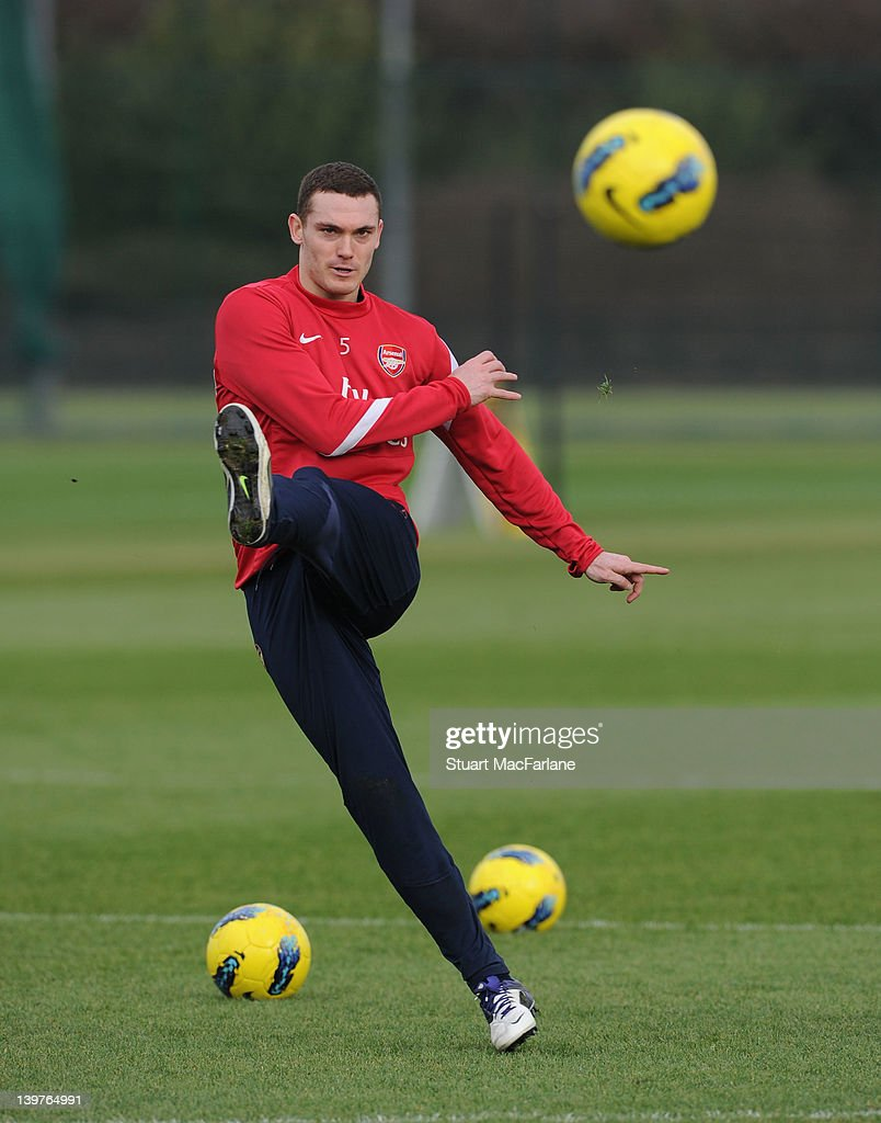 <a gi-track='captionPersonalityLinkClicked' href=/galleries/search?phrase=Thomas+Vermaelen&family=editorial&specificpeople=1360240 ng-click='$event.stopPropagation()'>Thomas Vermaelen</a> of Arsenal during a training session at London Colney on February 24, 2012 in St Albans, England.