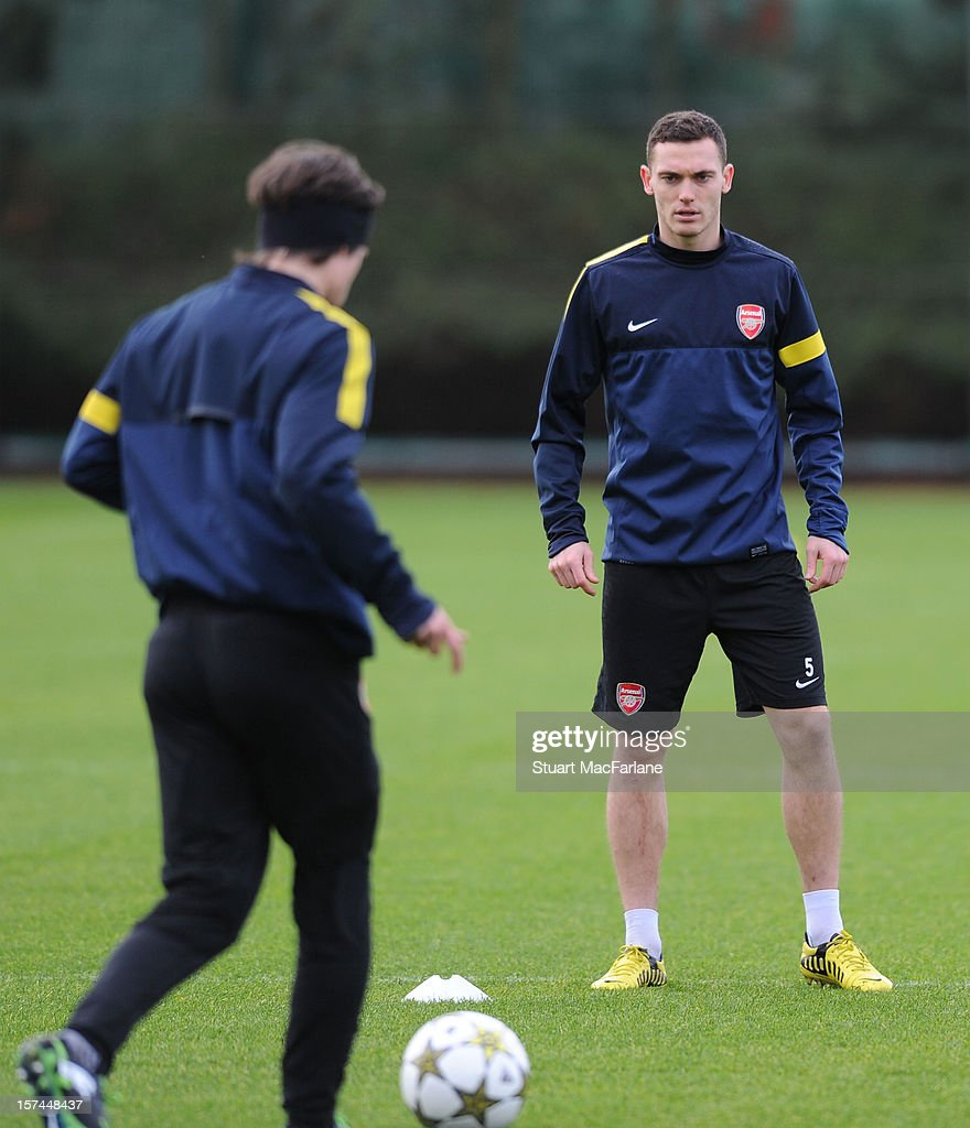 Thomas Vermaelen of Arsenal during a training session at London Colney on December 03, 2012 in St Albans, England.