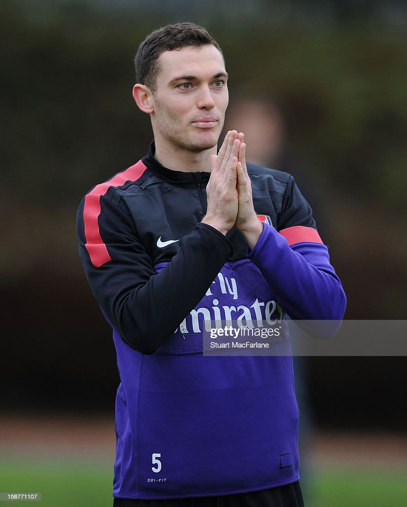 <a gi-track='captionPersonalityLinkClicked' href=/galleries/search?phrase=Thomas+Vermaelen&family=editorial&specificpeople=1360240 ng-click='$event.stopPropagation()'>Thomas Vermaelen</a> of Arsenal during a training session at London Colney on December 28, 2012 in St Albans, England.