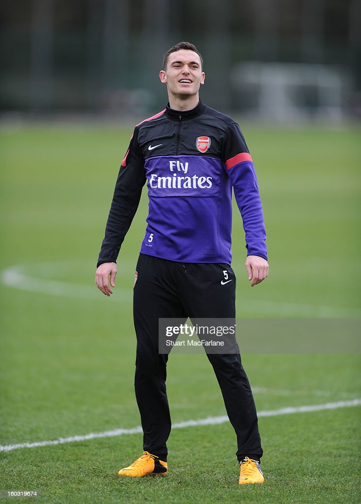 Thomas Vermaelen of Arsenal during a training session at London Colney on January 29, 2013 in St Albans, England.