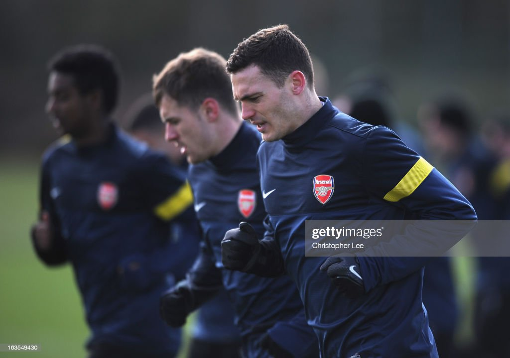 Thomas Vermaelen of Arsenal during a training session at London Colney on March 12, 2013 in St Albans, England.