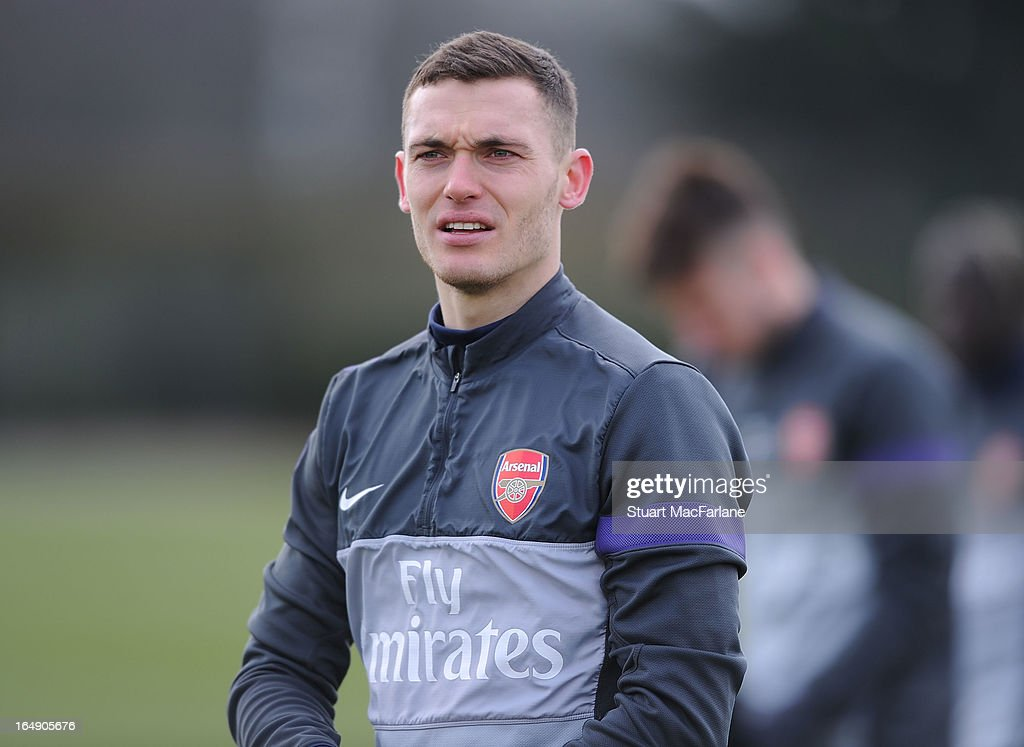 <a gi-track='captionPersonalityLinkClicked' href=/galleries/search?phrase=Thomas+Vermaelen&family=editorial&specificpeople=1360240 ng-click='$event.stopPropagation()'>Thomas Vermaelen</a> of Arsenal during a training session at London Colney on March 29, 2013 in St Albans, England.