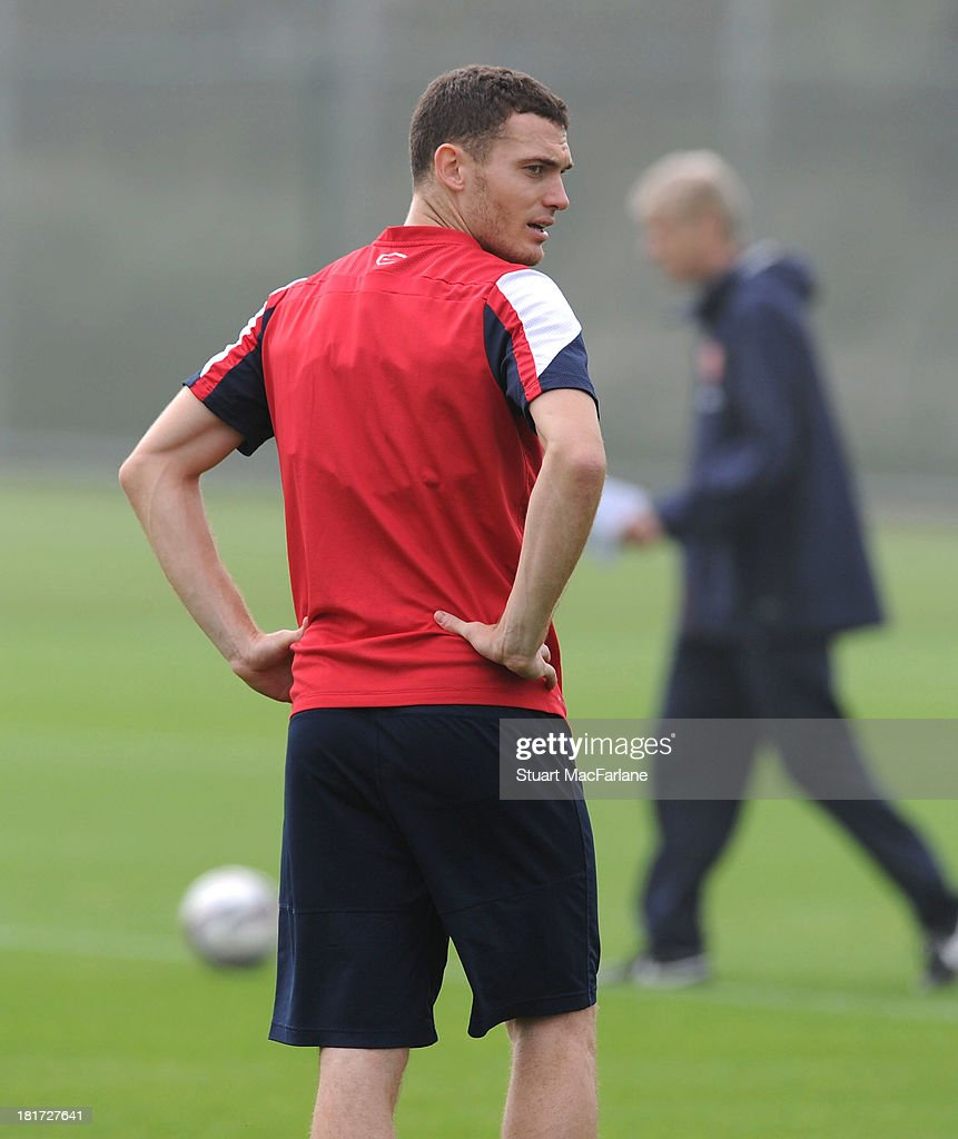 Thomas Vermaelen of Arsenal during a training session at London Colney on September 24, 2013 in St Albans, England.