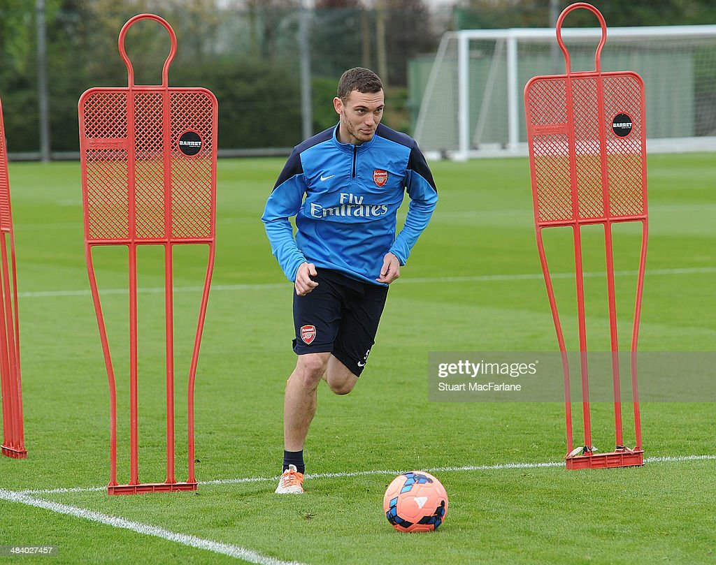 Thomas Vermaelen of Arsenal during a training session at London Colney on April 11, 2014 in St Albans, England.