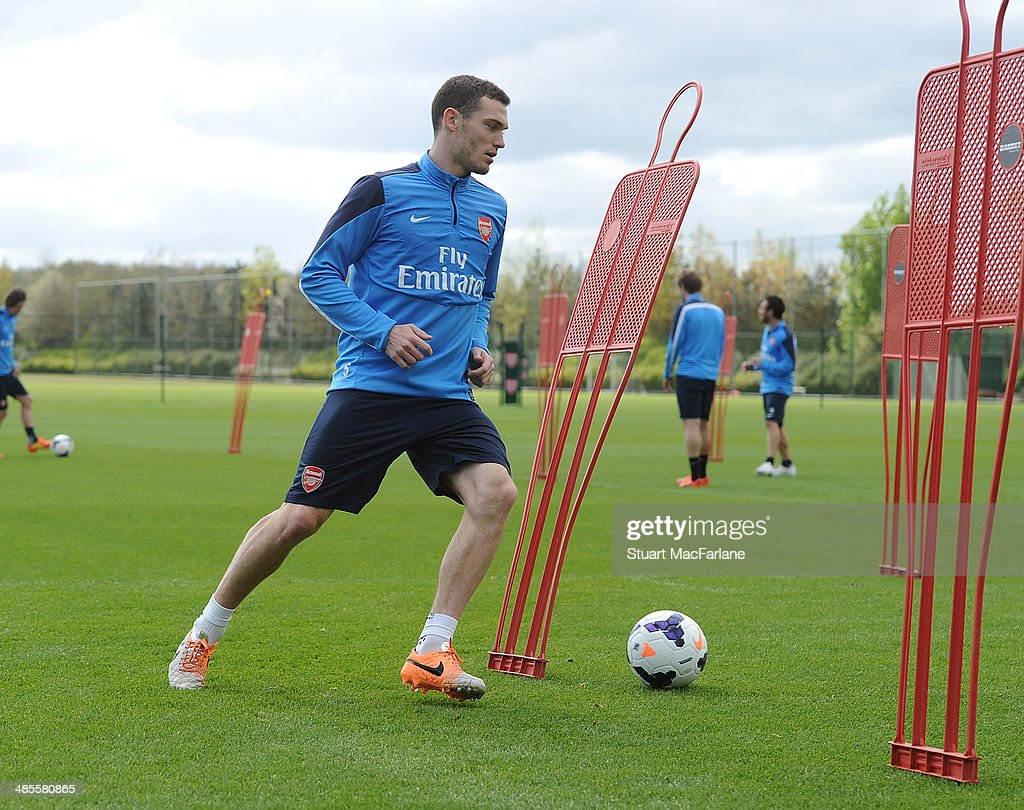 Thomas Vermaelen of Arsenal during a training session at London Colney on April 19 2014 in St Albans England