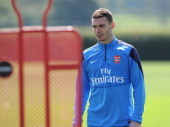 ALBANS ENGLAND MAY 3 Thomas Vermaelen of Arsenal during a training session at London Colney on May 3 2014 in St Albans England