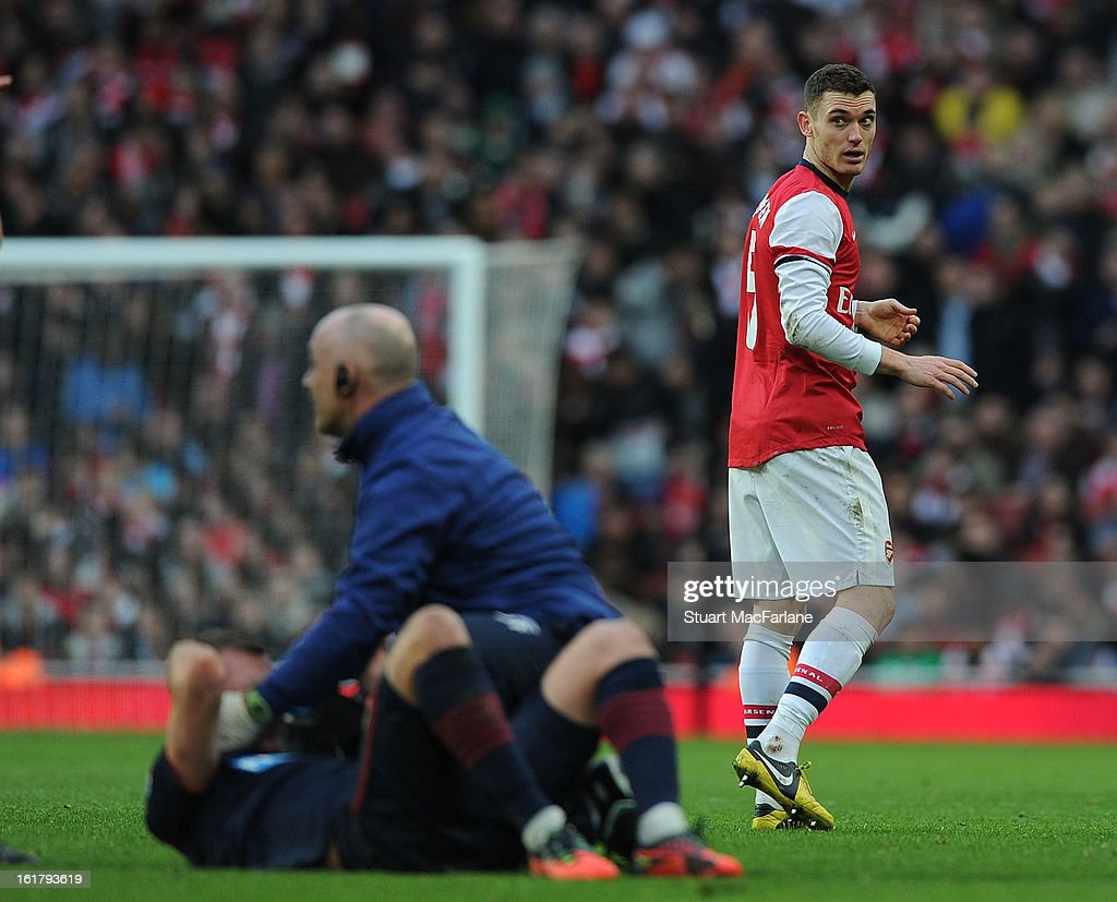 Thomas Vermaelen of Arsenal during the FA Cup Fifth Round match between Arsenal and Blackburn Rovers at the Emirates Stadium on February 16, 2013 in London, England.
