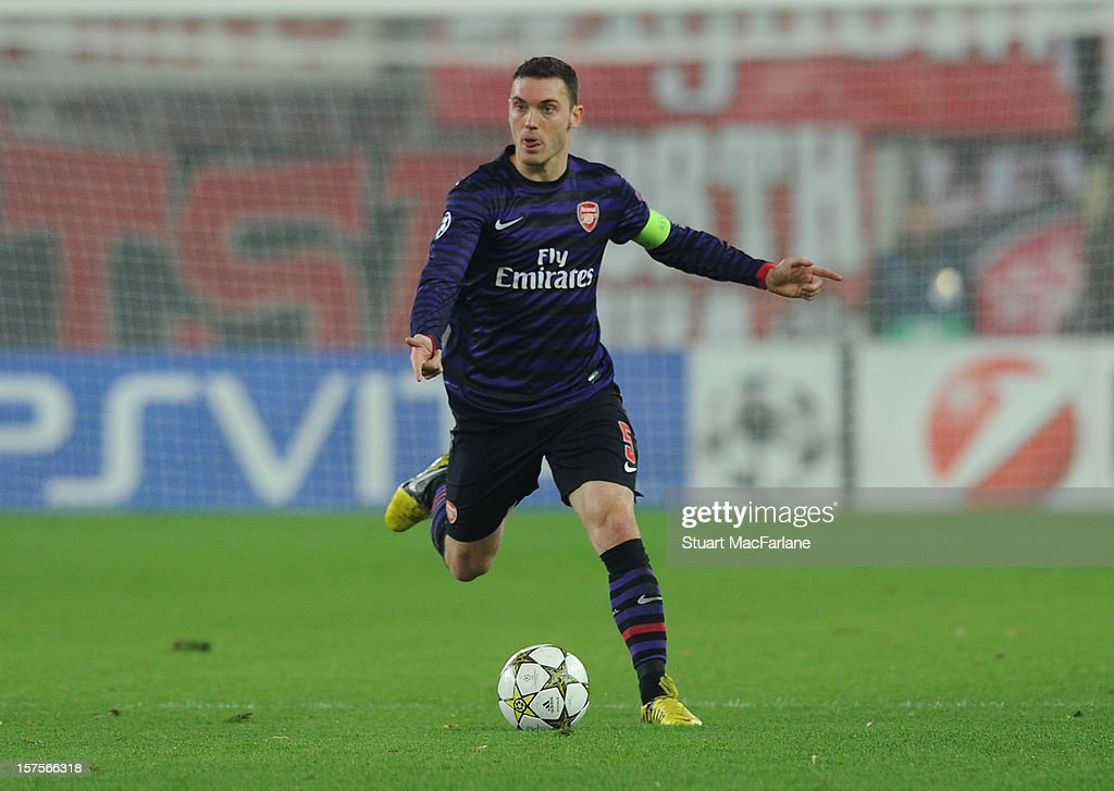 <a gi-track='captionPersonalityLinkClicked' href=/galleries/search?phrase=Thomas+Vermaelen&family=editorial&specificpeople=1360240 ng-click='$event.stopPropagation()'>Thomas Vermaelen</a> of Arsenal during the UEFA Champions League Group B match between Olympiacos FC and Arsenal FC at Georgios Karaiskakis Stadium on December 04, 2012 in Athens, Greece.