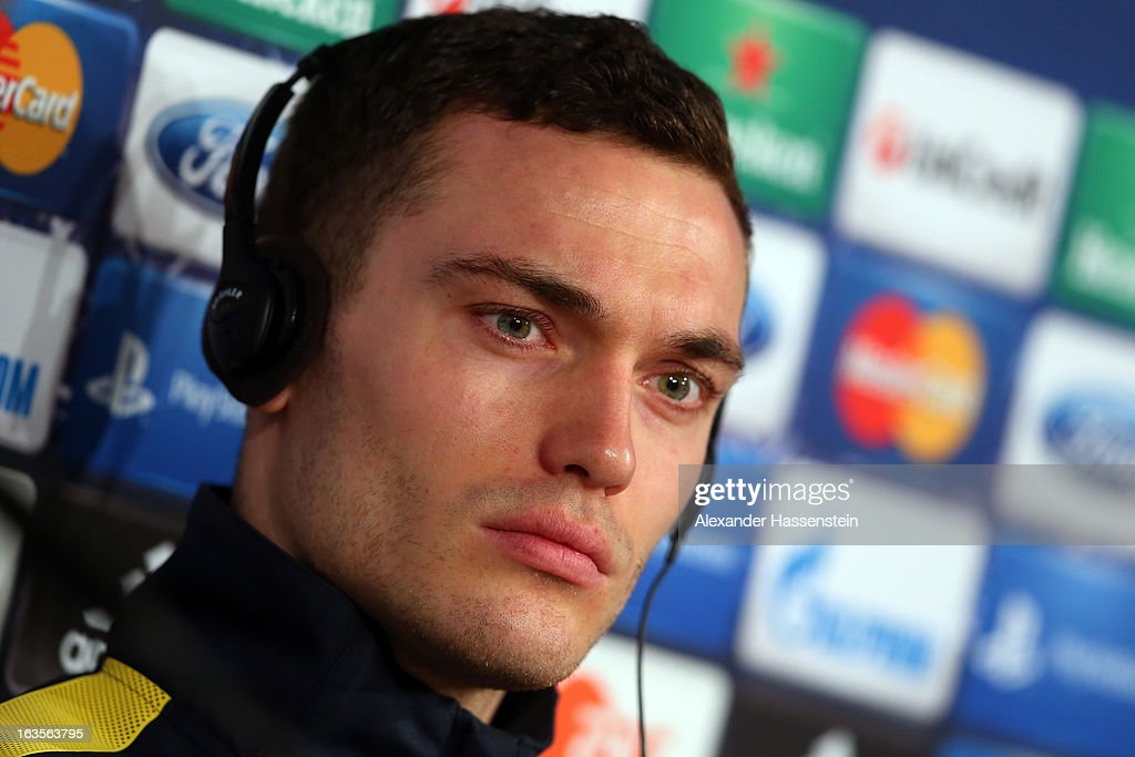 Thomas Vermaelen of Arsenal looks on during a Arsenal FC press conference ahead of their UEFA Champions League round of 16 match against Bayern Muenchen at Allianz Arena on March 12, 2013 in Munich, Germany.