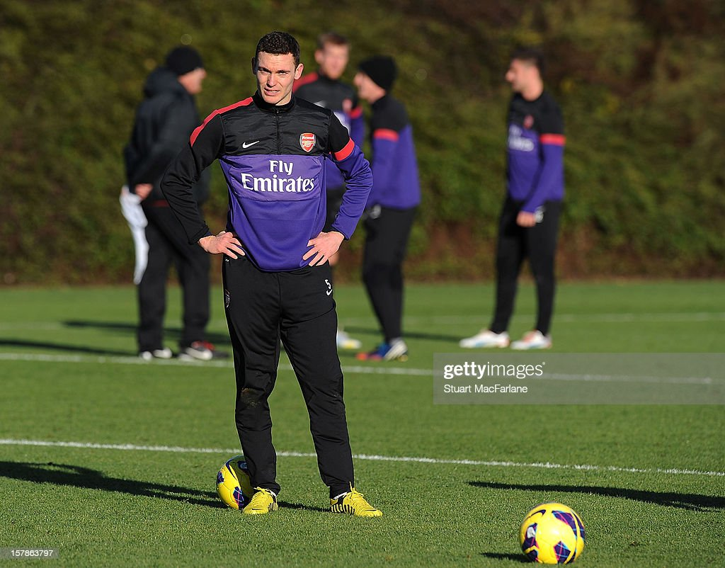 Thomas Vermaelen of Arsenal looks on during a training session at London Colney on December 07, 2012 in St Albans, England.