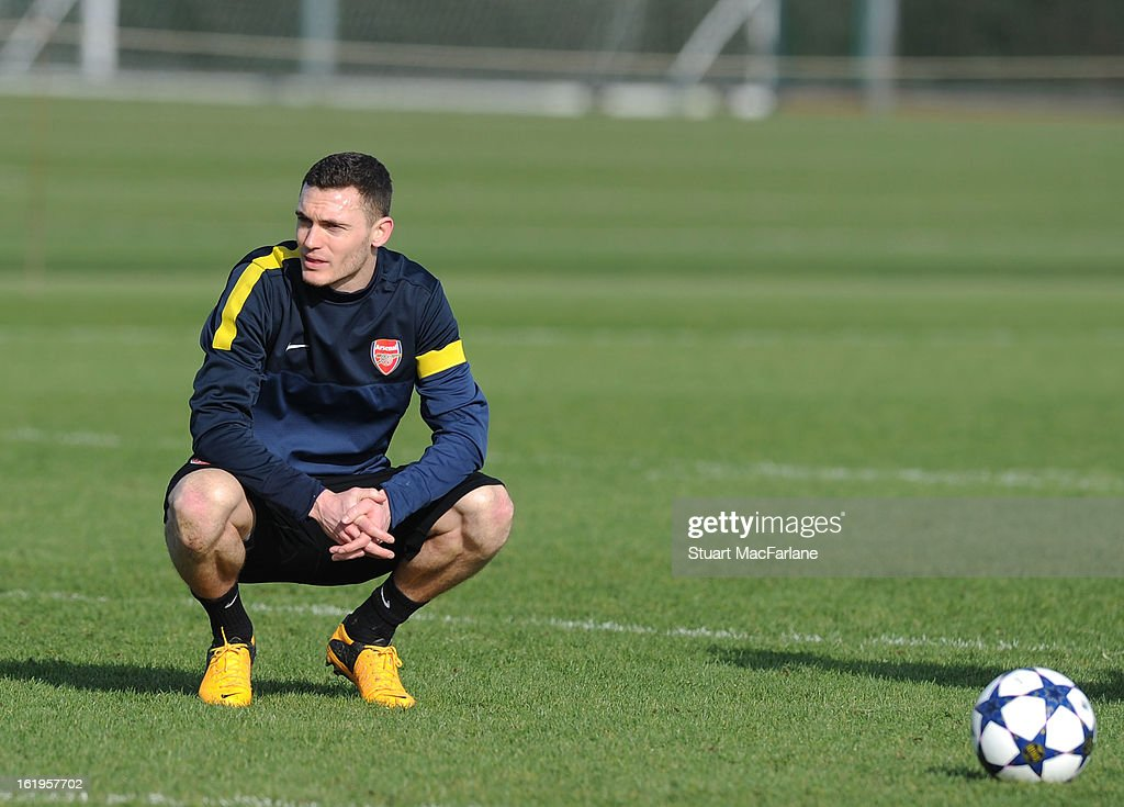 Thomas Vermaelen of Arsenal takes part in a training session ahead of their UEFA Champions League match against FC Bayern Muenchen at London Colney on February 18, 2013 in St Albans, England.