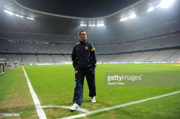 Thomas Vermaelen of Arsenal views the stadium before the Press Conference ahead of their UEFA Champions League Round of 16 match against Bayern...