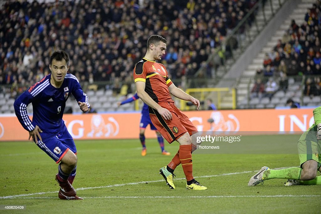 Thomas Vermaelen of Belgium and Okazaki pictured during the international friendly match before the World Cup in Brasil between Belgium and Japan on November 19, 2013 in Brussels, Belgium