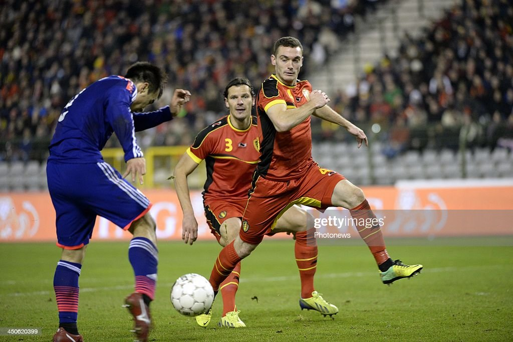 Thomas Vermaelen of Belgium and Okazaki scoring pictured during the international friendly match before the World Cup in Brasil between Belgium and Japan on November 19, 2013 in Brussels, Belgium