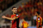 Thomas Vermaelen of Belgium in action during the FIFA 2014 World Cup Qualifying Group A match between Belgium and Wales at King Baudouin Stadium on...