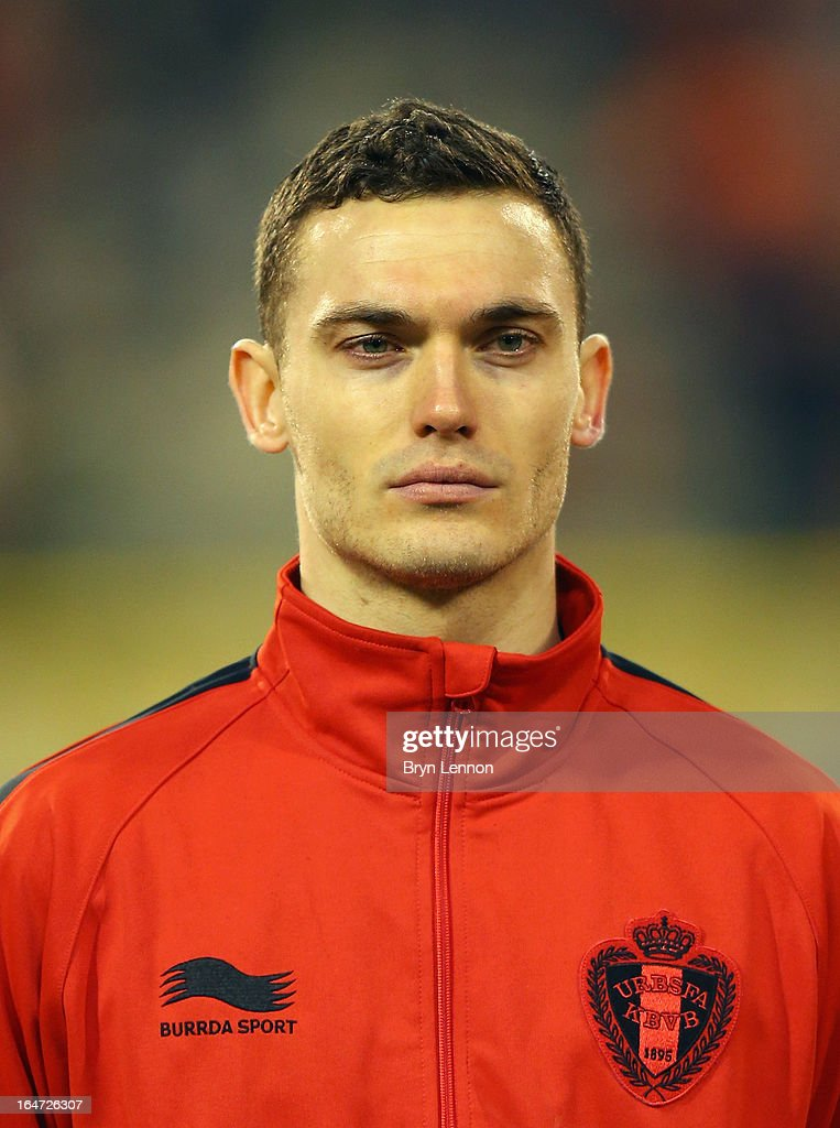 Thomas Vermaelen of Belgium stands for the national anthems prior to the FIFA 2014 World Cup Qualifier between Belgium and Macedonia at Stade Roi Baudouis on March 26, 2013 in Brussels, Belgium.