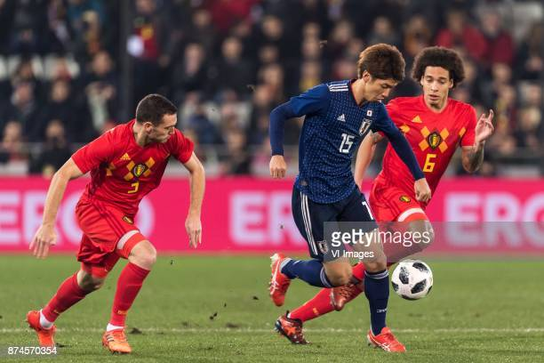 Thomas Vermaelen of Belgium Yuya Osako of Japan Axel Witsel of Belgium during the friendly match between Belgium and Japan on November 14 2017 at the...