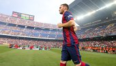 Thomas Vermaelen of FC Barcelona is presented to the supporters before the Joan Gamper Trophy match between FC Barcelona and Leon CF at Camp Nou on...