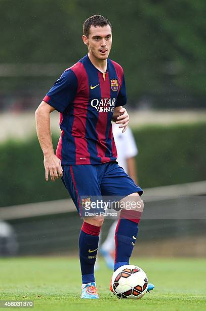 Thomas Vermaelen of FC Barcelona runs with the ball during a friendly match between FC Barcelona B and Indonesia U19 at Ciutat Esportiva on September...