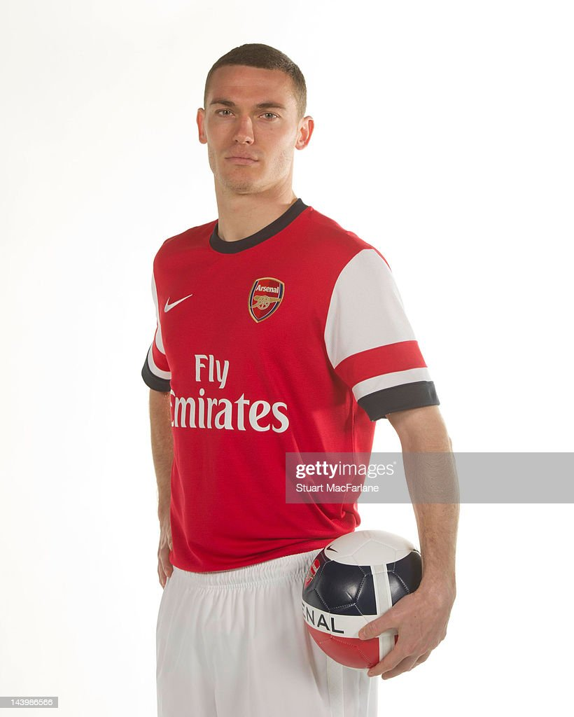 Thomas Vermaelen poses during a photoshoot for the new Arsenal home kit for season 2012/13 at London Colney on April 5 2012 in St Albans England