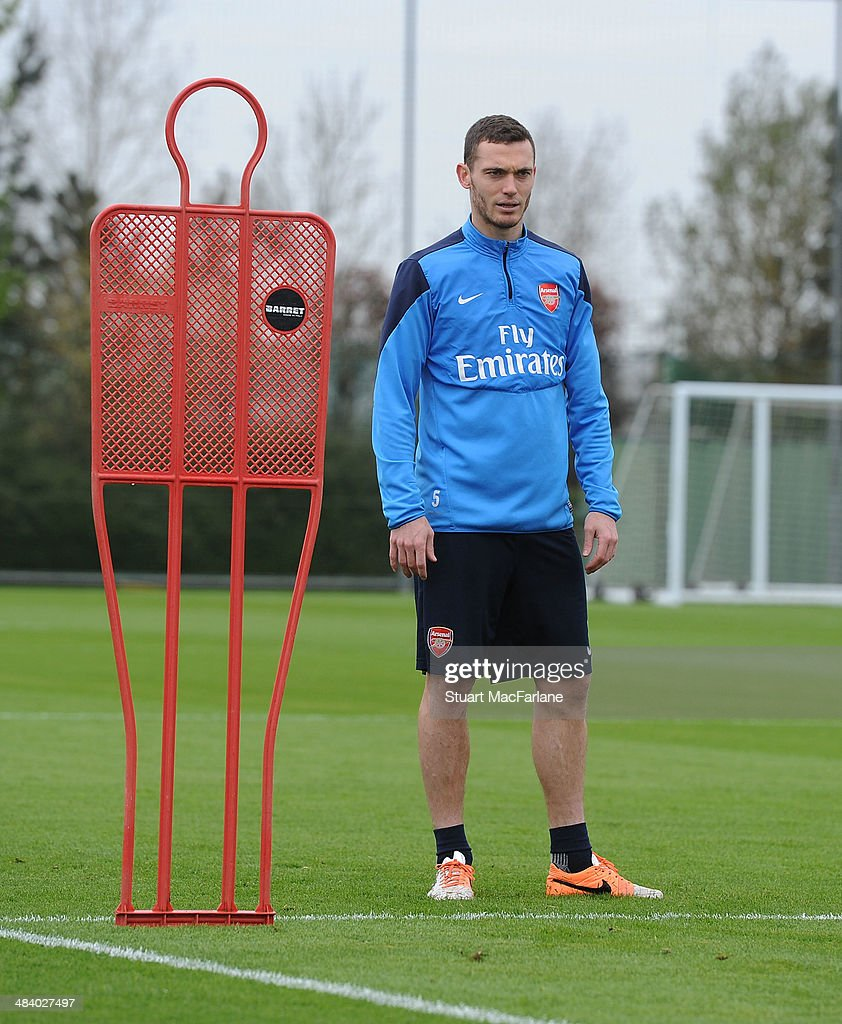 ST. ALBANS, ENGLAND - Thomas Vermaleen of Arsenal during a training session at London Colney on April 11, 2014 in St Albans, England.