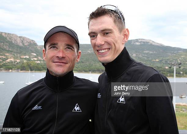 Thomas Voeckler and Pierre Rolland both of France and Team Europcar pose on the eve of the start of the Tour de France 2013 on June 28 2013 in...