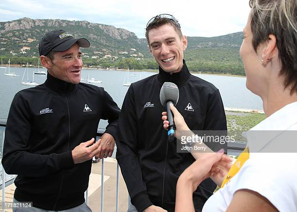 Thomas Voeckler and Pierre Rolland both of France and Team Europcar are interviewed on the eve of the start of the Tour de France 2013 on June 28...