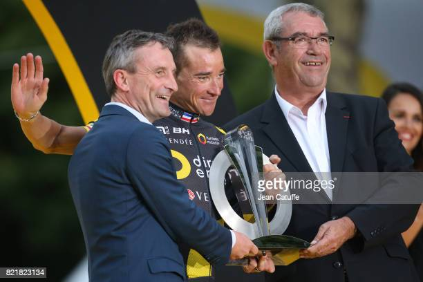 Thomas Voeckler of France and Direct Energie during the trophy ceremony following stage 21 of the Tour de France 2017 a 103km race between Montgeron...