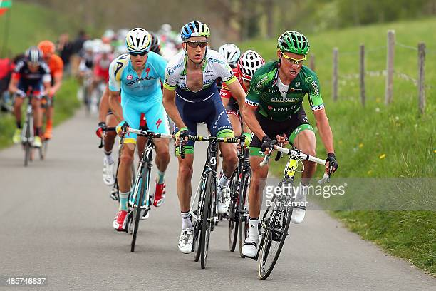 Thomas Voeckler of France and Europcar Team and Pieter Weening of the Netherlands and Orica GreenEDGE in action during the 49th edition of the Amstel...