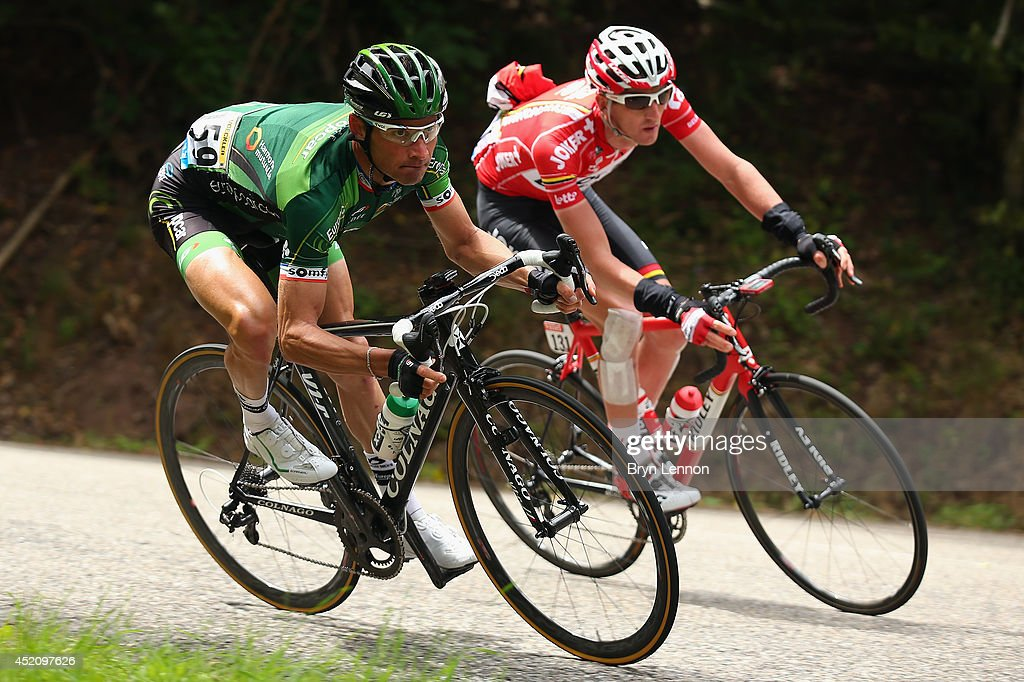 <a gi-track='captionPersonalityLinkClicked' href=/galleries/search?phrase=Thomas+Voeckler&family=editorial&specificpeople=212948 ng-click='$event.stopPropagation()'>Thomas Voeckler</a> of France and Team Europcar (L) and Jurgen Van Den Broeck of Belgium and Team Lotto Belisol in action during the ninth stage of the 2014 Tour de France, a 170km stage between Gerardmer and Mulhouse, on July 13, 2014 in Mulhouse, France.