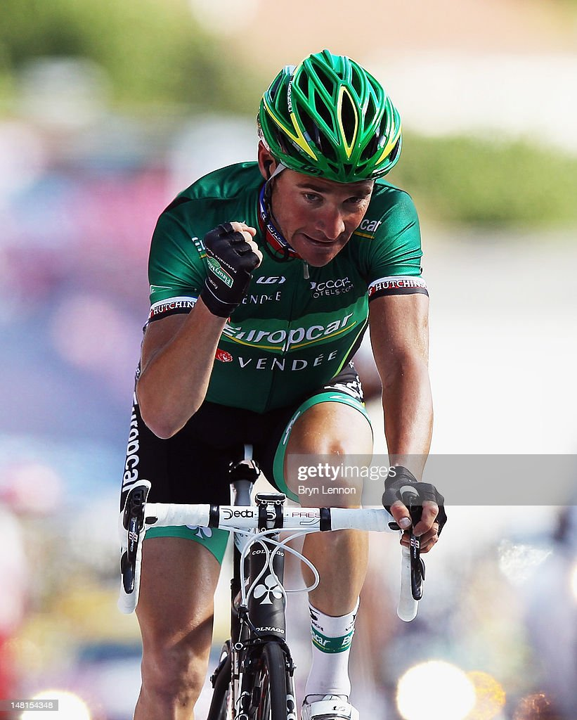 <a gi-track='captionPersonalityLinkClicked' href=/galleries/search?phrase=Thomas+Voeckler&family=editorial&specificpeople=212948 ng-click='$event.stopPropagation()'>Thomas Voeckler</a> of France and Team Europcar celebrates as he crosses the finish line to win stage ten of the 2012 Tour de France from Macon to Bellegarde-sur-Valserine on July 11, 2012 in Bellegarde-sur-Valserine, France.