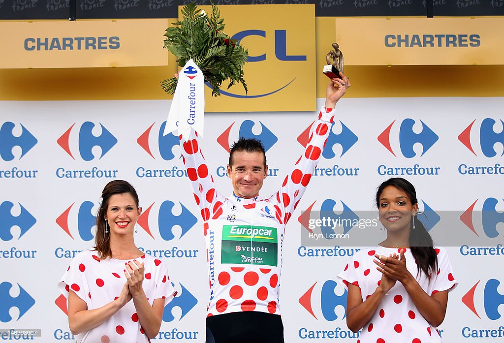 <a gi-track='captionPersonalityLinkClicked' href=/galleries/search?phrase=Thomas+Voeckler&family=editorial&specificpeople=212948 ng-click='$event.stopPropagation()'>Thomas Voeckler</a> of France and Team Europcar celebrates on the podium after securing the polka dot jersey for the King of the Mountains competition after stage nineteen of the 2012 Tour de France, a 53.5km time trial from Bonneval to Chartres on July 21, 2012 in Chartres, France.