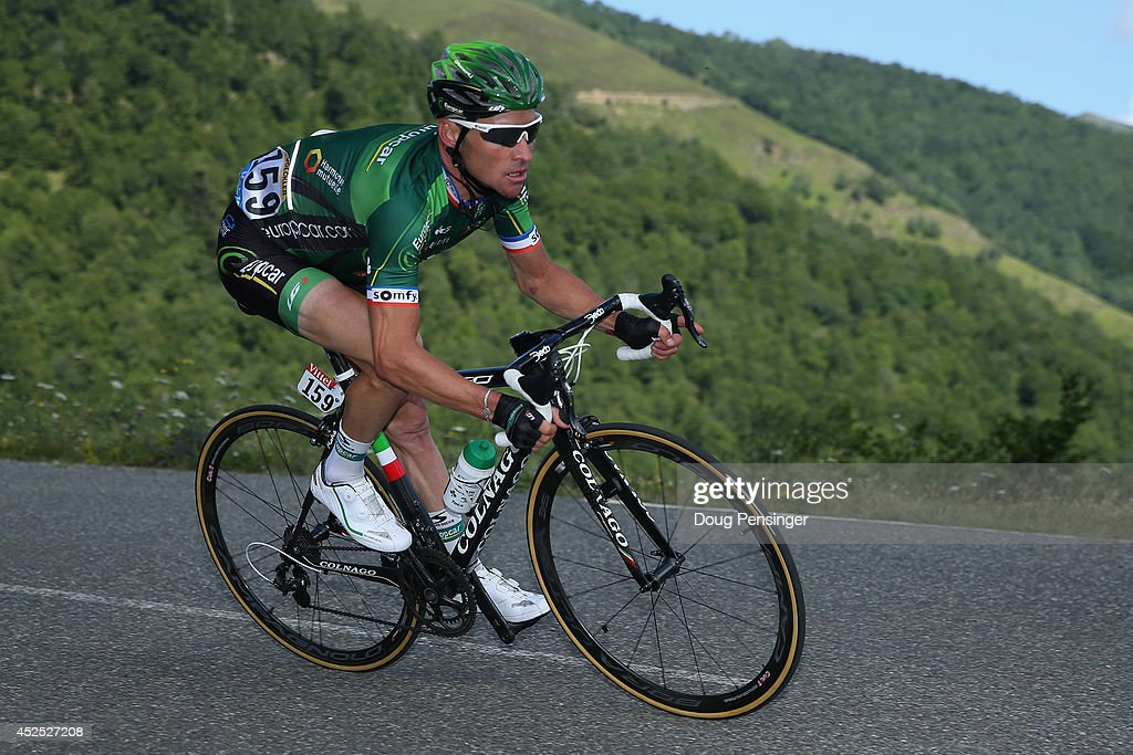 Thomas Voeckler of France and Team Europcar descends the Port de Bales en route to a second place finish in the sixteenth stage of the 2014 Tour de...