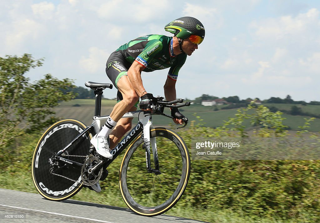 Thomas Voeckler of France and Team Europcar in action during stage twenty of the 2014 Tour de France a 54 km individual time trial stage between...