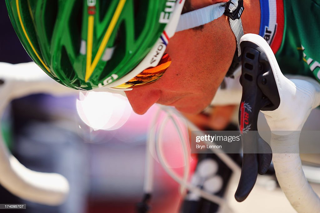 Thomas Voeckler of France and Team Europcar looks down ahead of stage twenty of the 2013 Tour de France a 125KM road stage from Annecy to...