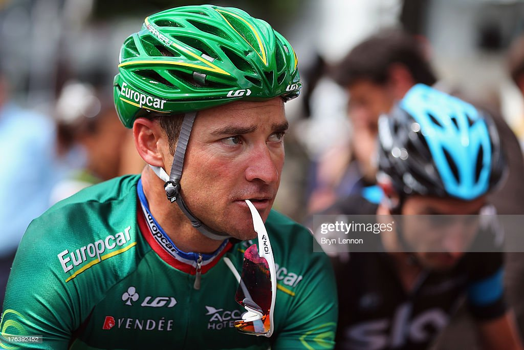 <a gi-track='captionPersonalityLinkClicked' href=/galleries/search?phrase=Thomas+Voeckler&family=editorial&specificpeople=212948 ng-click='$event.stopPropagation()'>Thomas Voeckler</a> of France and Team Europcar looks on during stage nine of the 2013 Tour de France, a 168.5KM road stage from Saint-Girons to Bagneres-de-Bigorre, on July 7, 2013 in Saint-Girons, France.