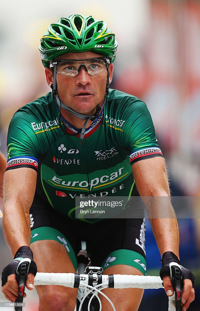 Thomas Voeckler of France and Team Europcar reacts as he crosses the finish line at the end of stage eighteen of the 2013 Tour de France a 1725KM...