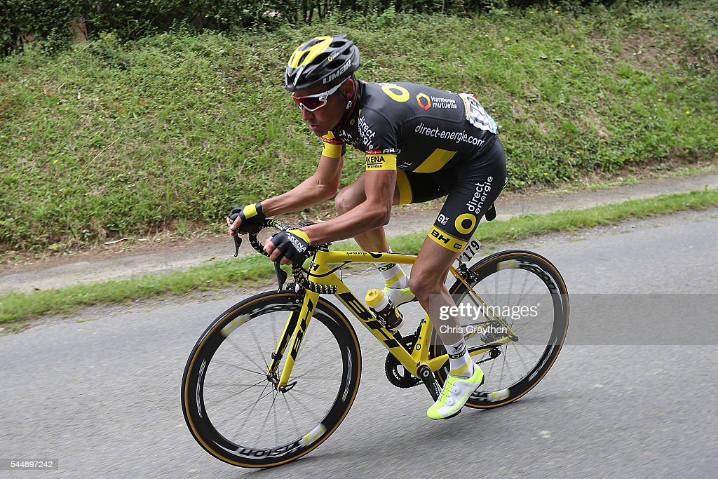 Thomas Voeckler of France riding for Direct Energie rides ahead of the peloton during stage three of the 2016 Le Tour de France a 2235km stage from...