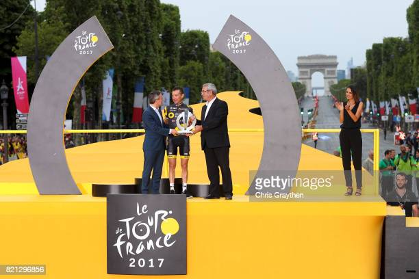 Thomas Voeckler of France riding for Direct Energie stands on stage following the 2017 Le Tour de France a 103km stage from Montgreon to the Paris...