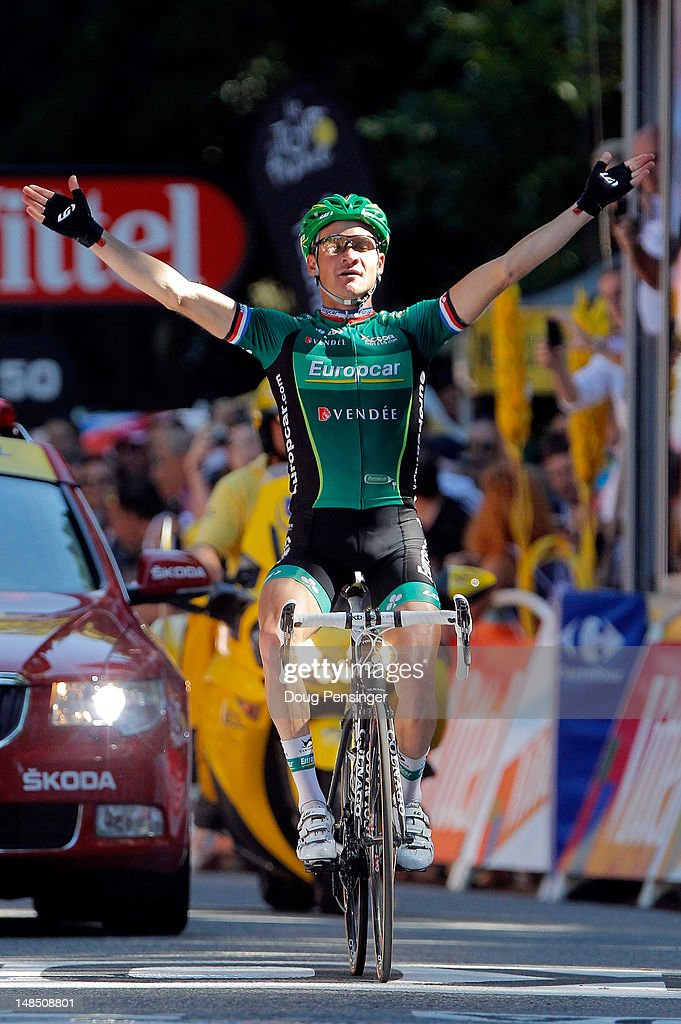 <a gi-track='captionPersonalityLinkClicked' href=/galleries/search?phrase=Thomas+Voeckler&family=editorial&specificpeople=212948 ng-click='$event.stopPropagation()'>Thomas Voeckler</a> of France riding for Europcar celebrates as he wins stage sixteen of the 2012 Tour de France from Pau to Bagneres-de-Luchon on July 18, 2012 in Bagneres-de-Luchon, France.
