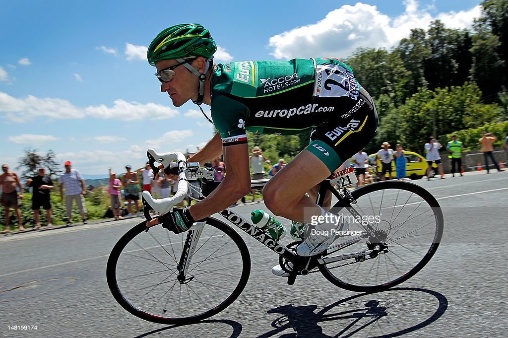 <a gi-track='captionPersonalityLinkClicked' href=/galleries/search?phrase=Thomas+Voeckler&family=editorial&specificpeople=212948 ng-click='$event.stopPropagation()'>Thomas Voeckler</a> of France riding for Europcar descends the Col du Grand Columbier en route to winning stage ten of the 2012 Tour de France from Macon to Bellegarde-Sur-Valserine on July 11, 2012 in Lochieu, France.