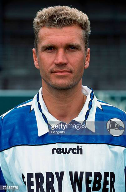 Thomas von Heesen of Bielefeld poses during the photo call and team presentation of Arminia Bielefeld on July 01 1996 in Bielefeld Germany