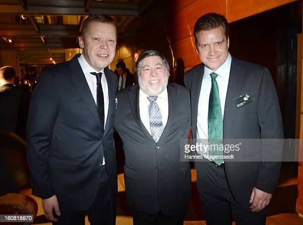 Thomas Wagner of SevenOne Steve Wozniak cofounder of Apple and Malte Hildebrandt of SevenOne Media attend the Best Brands 2013 Gala at Bayerischer...
