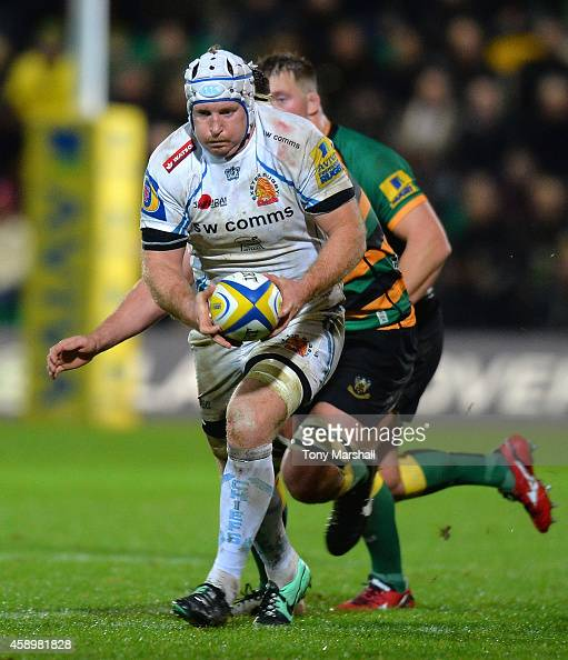 Thomas Waldrom of Exeter Chiefs during the Aviva Premiership match between Northampton Saints and Exeter Chiefs at Franklin's Gardens on November 14...