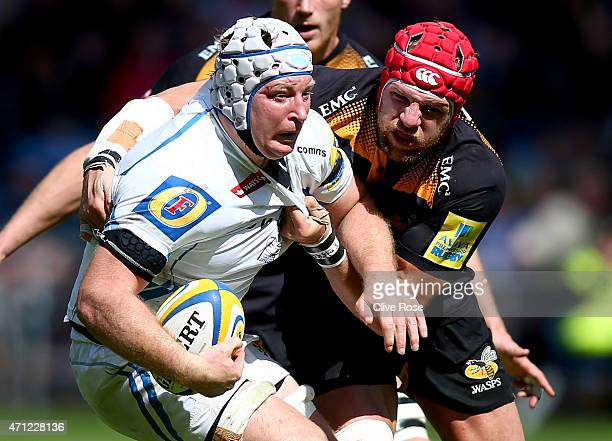 Thomas Waldrom of Exeter Chiefs is challanged by James Haskell of Wasps during the Aviva Premiership match between Wasps and Exeter Chiefs at the...