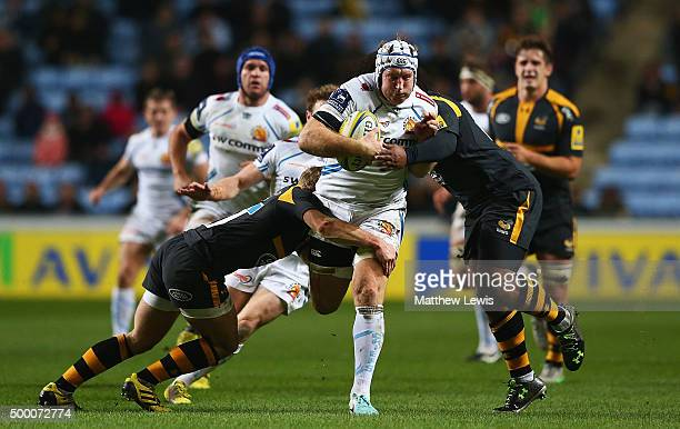 Thomas Waldrom of Exeter Chiefs makes a break during the Aviva Premiership match between Wasps and Exeter Chiefs at the Ricoh Arena on December 4...